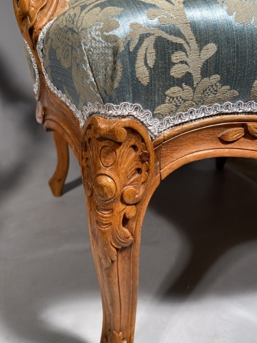 Seating  - Pair of armchairs with flat backs attributed to J.B Tillard circa 1760