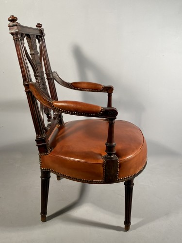 18th century - Pair of armchairs with bows and quivers, G.Jacob circa 1793