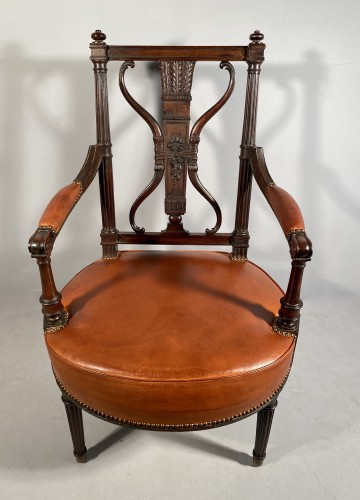 Louis XVI - Pair of armchairs with bows and quivers, G.Jacob circa 1793