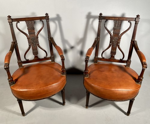 Antiquités - Pair of armchairs with bows and quivers, G.Jacob circa 1793