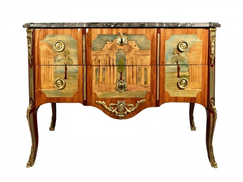 Commode in marquetry of ruins by A.L Gilbert, Paris circa 1775