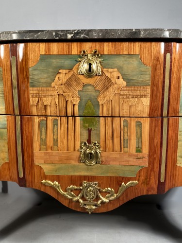 18th century - Commode in marquetry of ruins by A.L Gilbert, Paris circa 1775