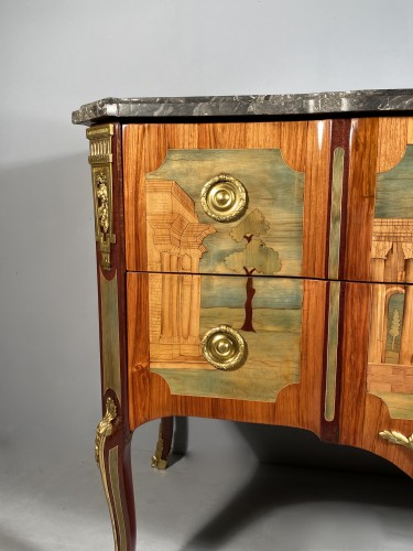 Commode in marquetry of ruins by A.L Gilbert, Paris circa 1775 - Transition