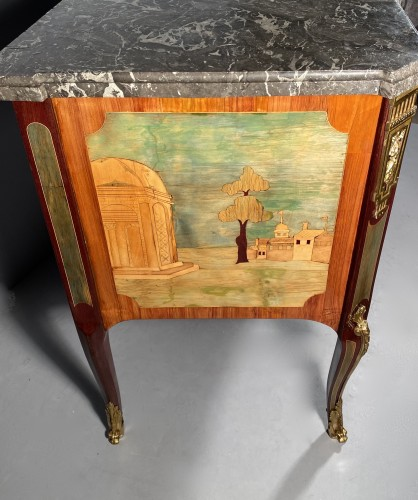 Transition - Commode in marquetry of ruins by A.L Gilbert, Paris circa 1775