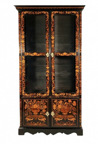 Bookcase in floral marquetry, Paris, Louis XIV period