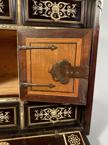 Antiquités - Travel cabinet, ebony and ivory, Milan circa 1620