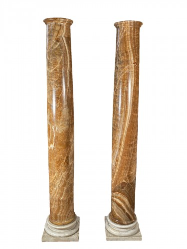 Pair of columns in ribboned alabaster, Rome 17th century