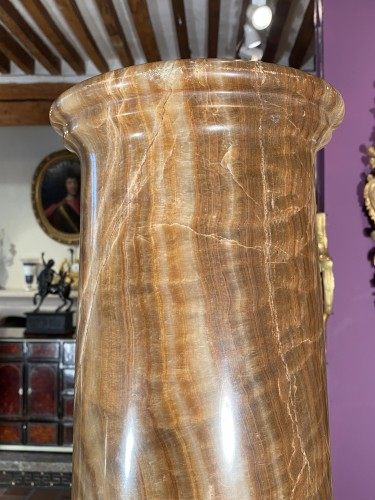 Pair of columns in ribboned alabaster, Rome 17th century - Decorative Objects Style Louis XIV