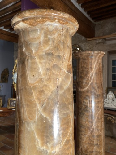 Decorative Objects  - Pair of columns in ribboned alabaster, Rome 17th century