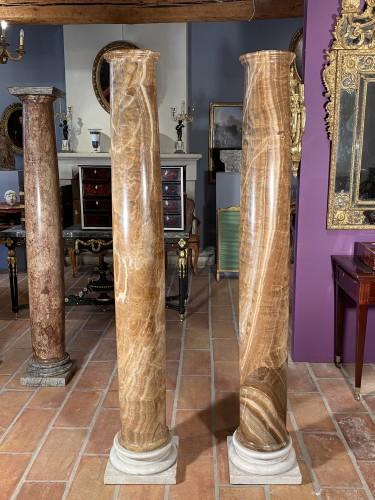 Pair of columns in ribboned alabaster, Rome 17th century - Louis XIV