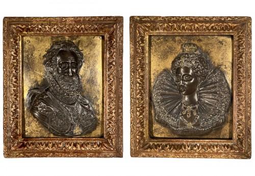 Pair of damascened iron plates, G. Dupré circa 1600