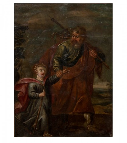 Xviith century oil painting on copper saint joseph and christ child