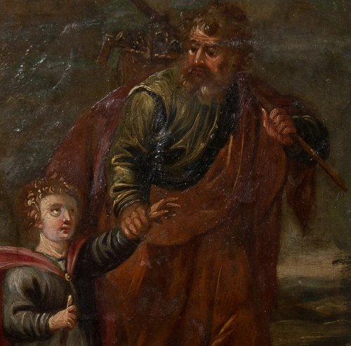 Xviith century oil painting on copper saint joseph and christ child  - Paintings & Drawings Style
