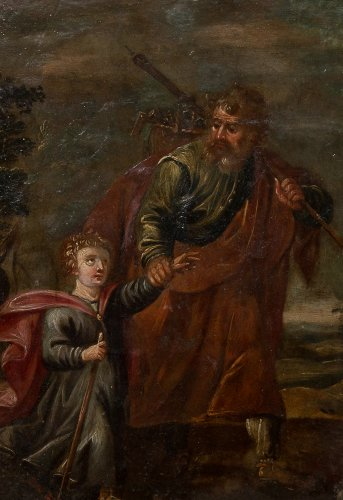 17th century - Xviith century oil painting on copper saint joseph and christ child