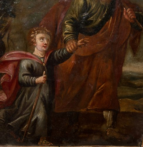 Antiquités - Xviith century oil painting on copper saint joseph and christ child