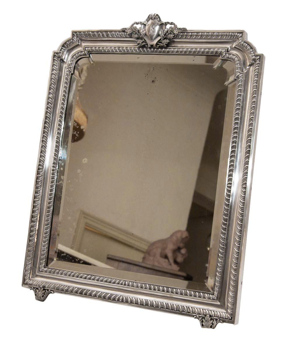 grand miroir de table en argent massif poque 1900 xxe si cle. Black Bedroom Furniture Sets. Home Design Ideas