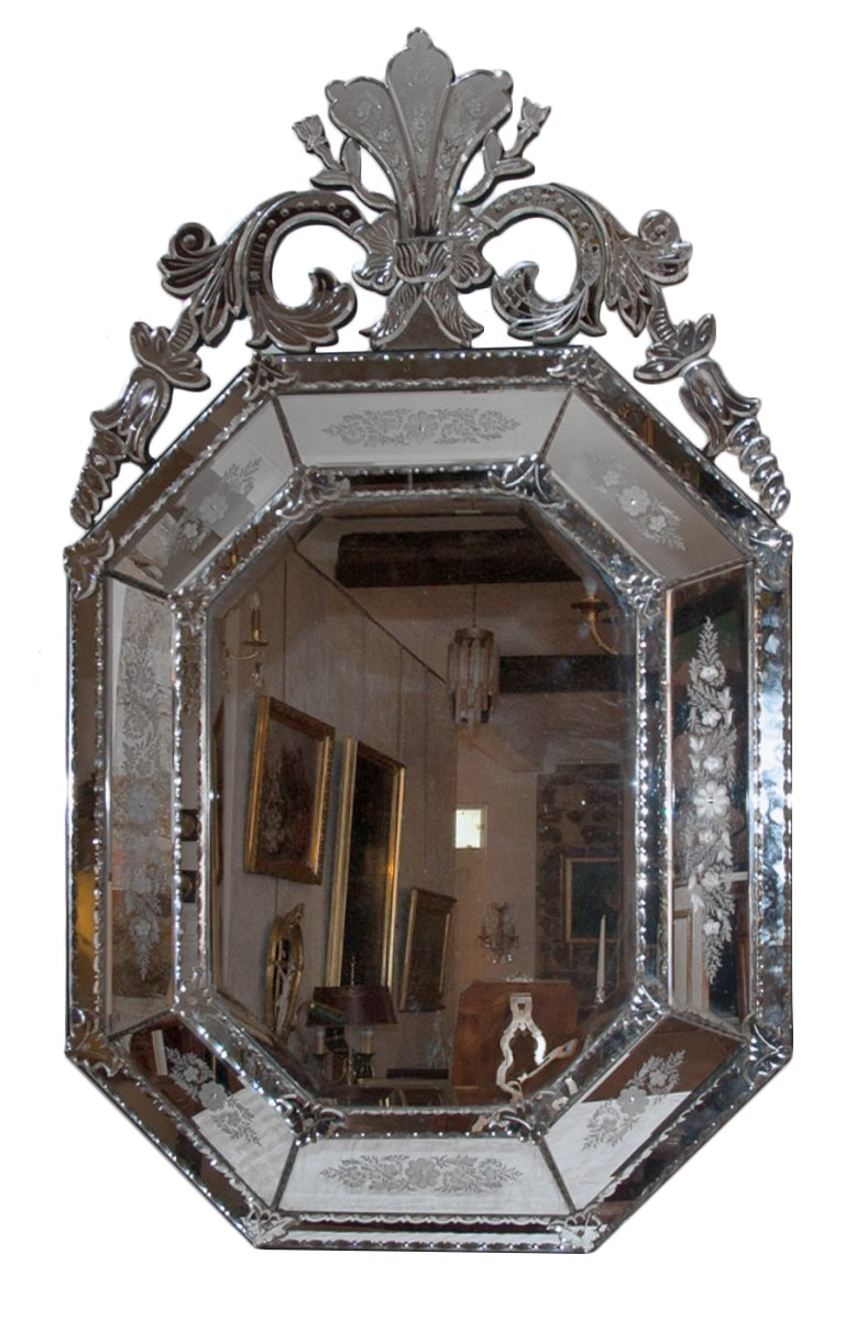 Grand miroir v nitien octogonal fin xixe si cle for Grand miroir large