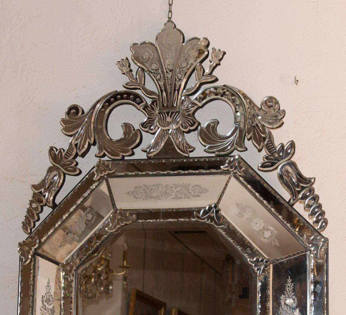 Grand miroir v nitien octogonal fin xixe si cle for Grand miroir large