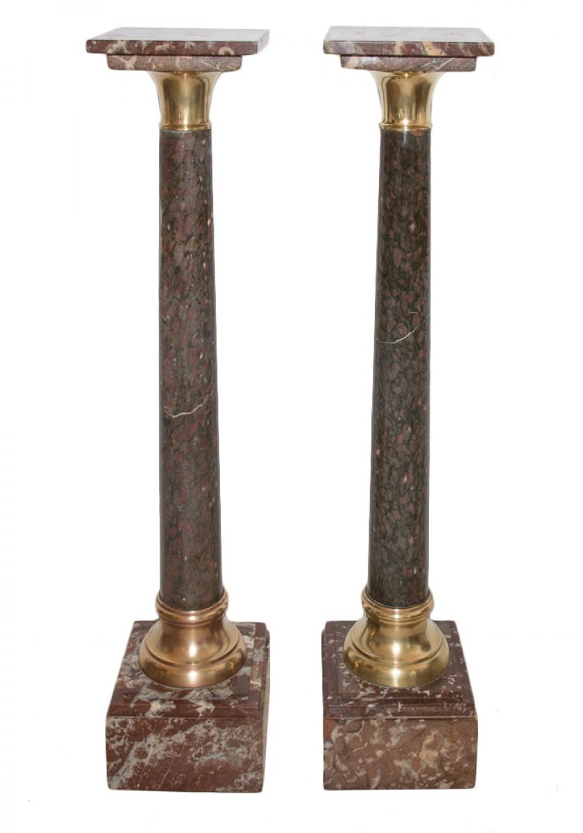 Pair Of Mid 19th Century Marble And Bronze Columns Pedestals Ref 53046