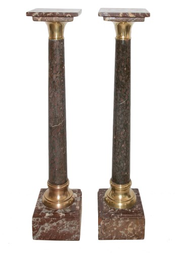 Pair of mid 19th century marble and bronze columns pedestals