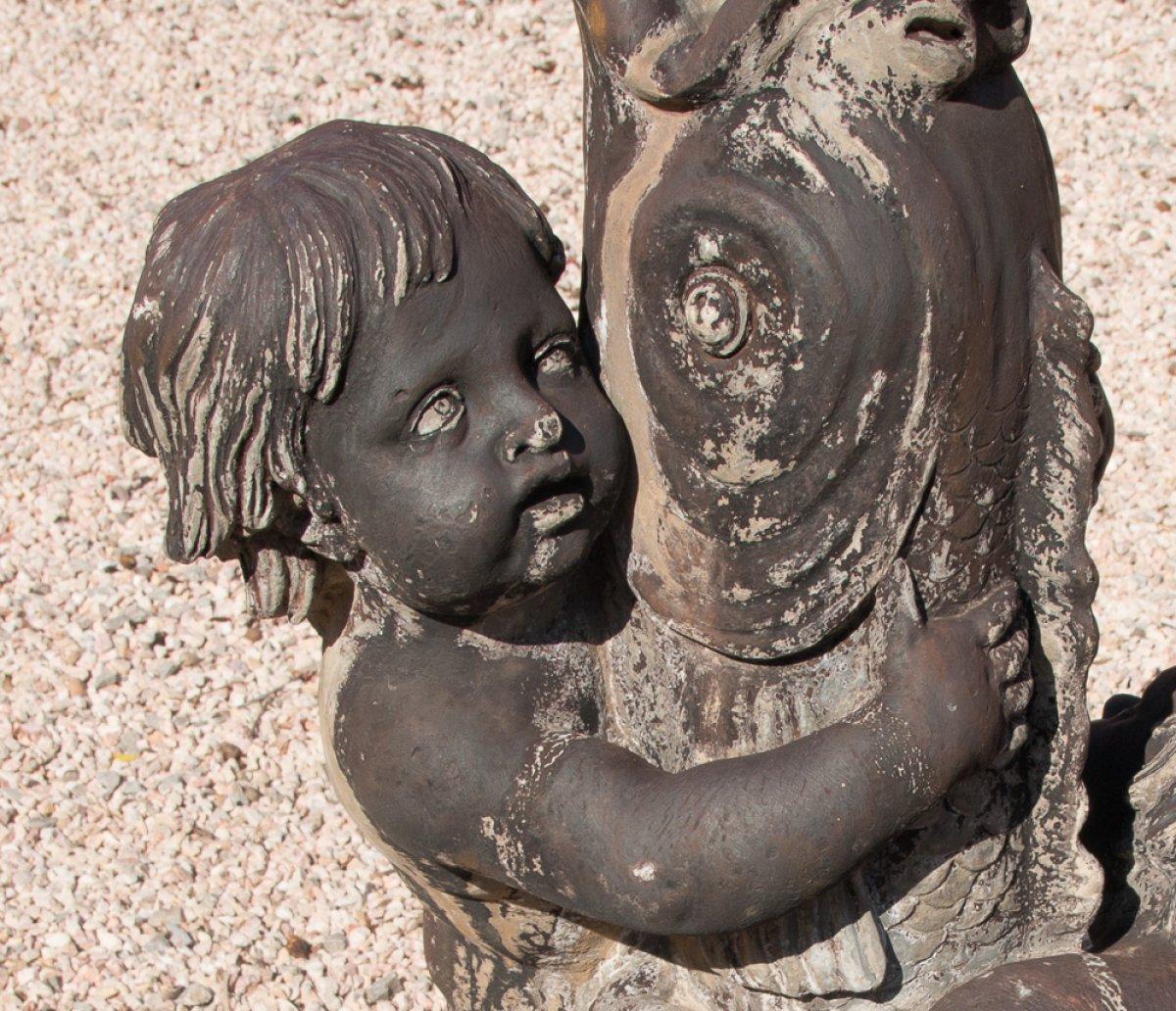 Fontaine en plomb putti et dauphin poque xviiie si cle for Jardin xviiie siecle