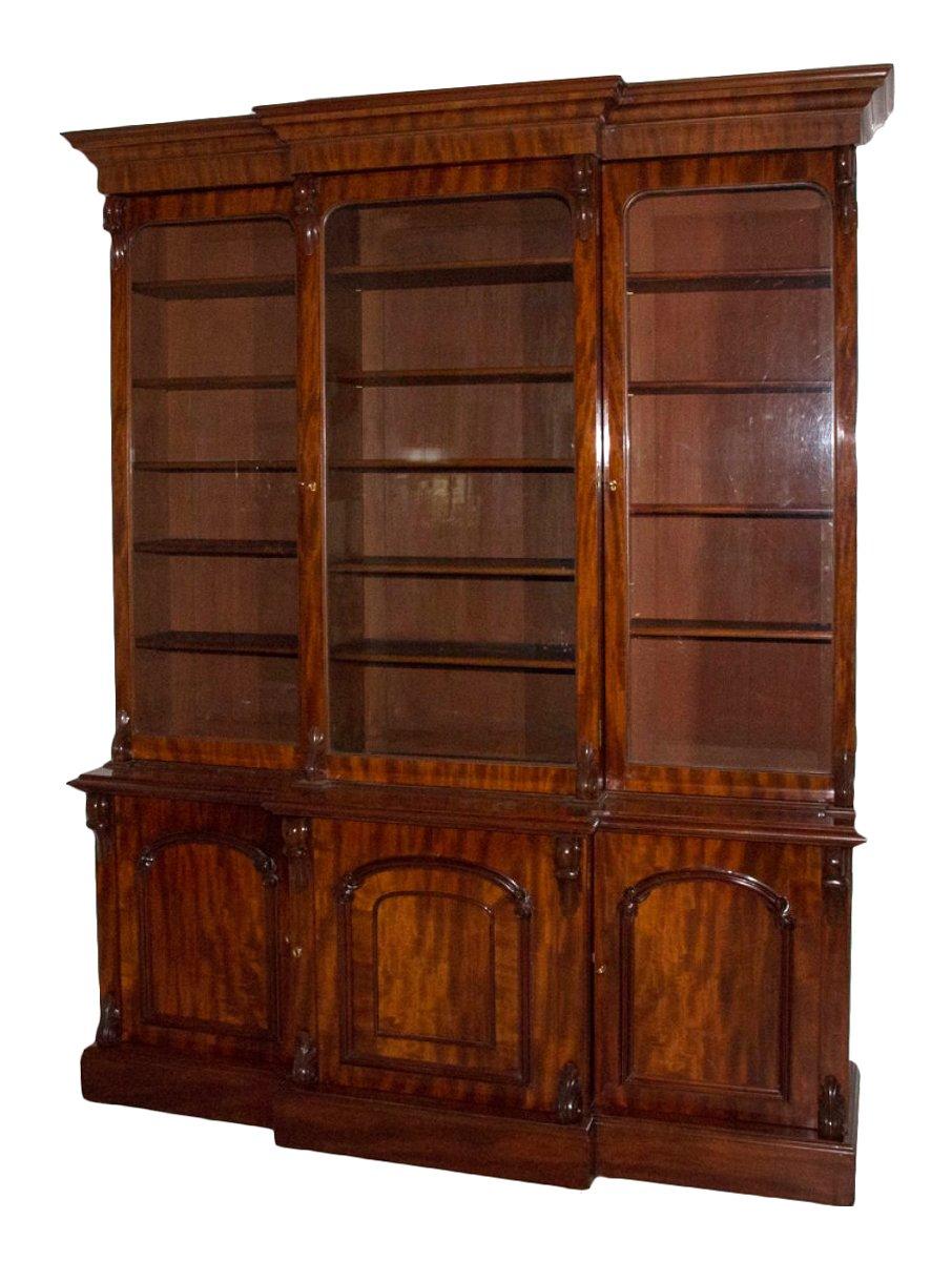 biblioth que anglaise en acajou milieu xixe si cle. Black Bedroom Furniture Sets. Home Design Ideas