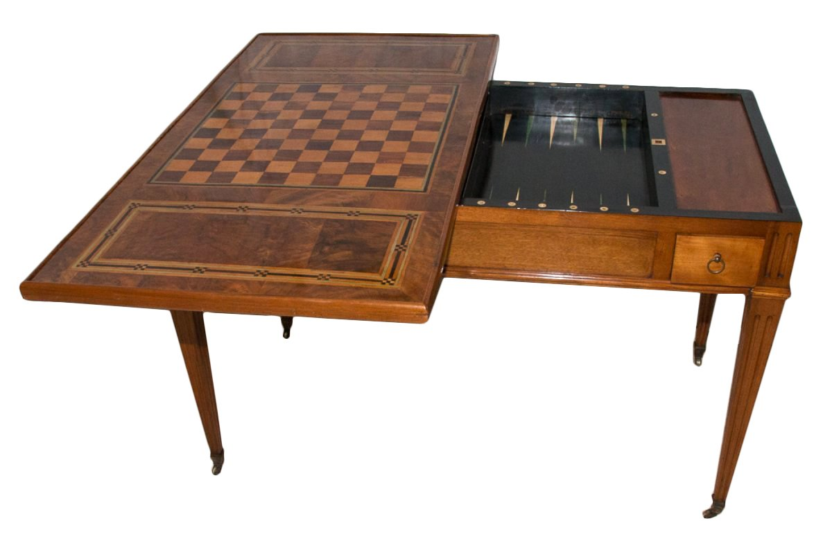 Table de jeux tric trac d 39 poque louis xvi xviiie si cle for Table de jeux