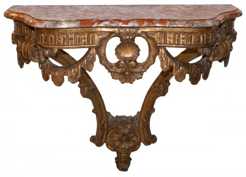 French Giltwood wall console table, early 19th century