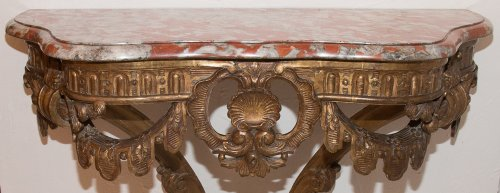 French Giltwood wall console table, early 19th century -