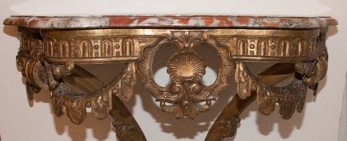 19th century - French Giltwood wall console table, early 19th century