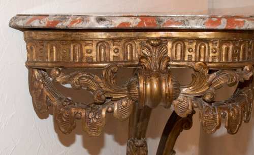 - French Giltwood wall console table, early 19th century