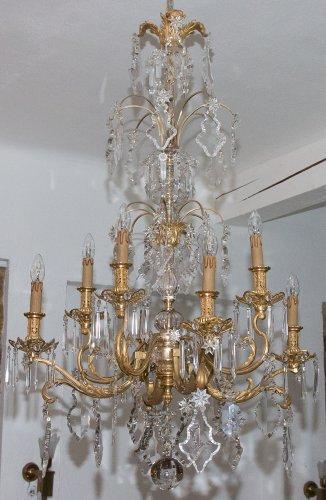 Lustre en bronze et cristal époque napoléon iii