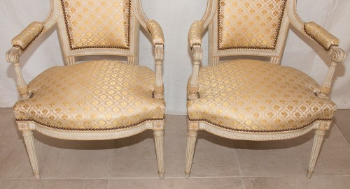 Louis XVI - Paire de fauteuils Louis XVI estampillés H. JACOB