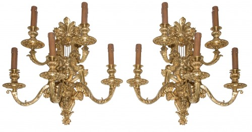 Pair of Napoleon III period bronze wall lights Signed Henri Picard