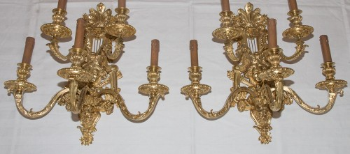 Lighting  - Pair of Napoleon III period bronze wall lights Signed Henri Picard