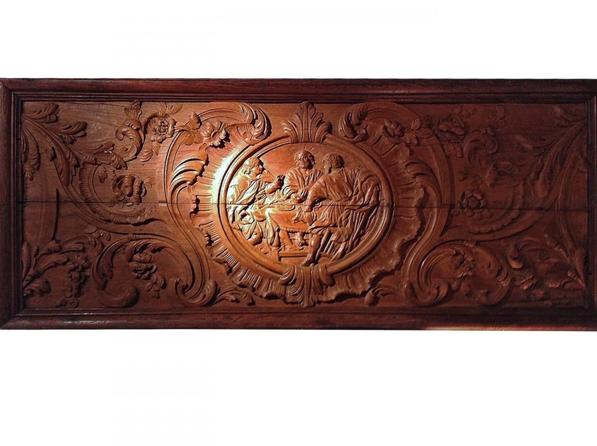 spectaculaire panneau de bois sculpt xviie si cle. Black Bedroom Furniture Sets. Home Design Ideas