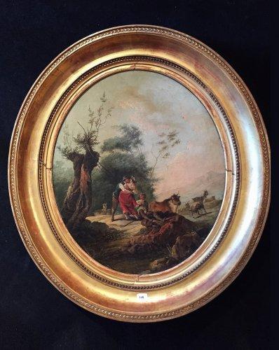19th century pastoral scene painting