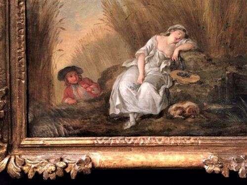 Jean-baptiste Benard (1745-1789) - The sleeping bergère - Paintings & Drawings Style Louis XV