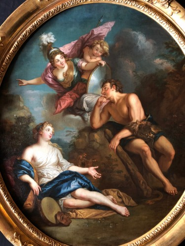 Hercules between Vice and Virtue - Entourage of Charles of the Pit (1636-1716) - Paintings & Drawings Style Louis XIV