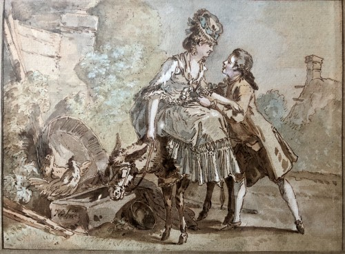 Paintings & Drawings  - Jean-Baptiste-Huet (1745.1811) - The donkey ride