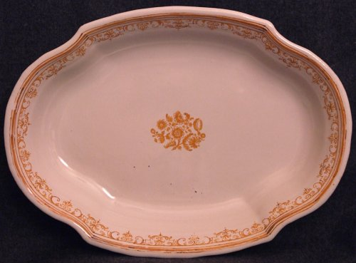 Oblong Dish Moustiers faience 18th century monochrome ocher