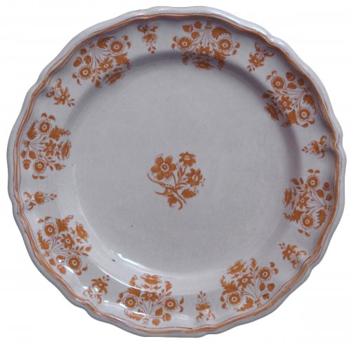 Moustiers faience plate - solannées flowers in shades ocher