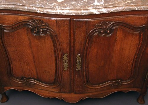 "Curved hunt Buffet from Flanders in solid oak said ""buffet de chasse"" - Furniture Style Louis XV"