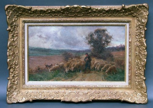 Théophile Louis Deyrolle - Oil on canvas, Berger and his herd