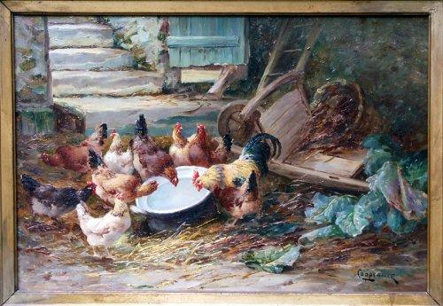 Barnyard - Jacques Van Coppenolle - Paintings & Drawings Style