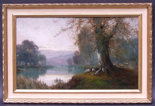 Pair of landscapes signed by Alfred Fontville Breanski - Burnham Beeches - Paintings & Drawings Style