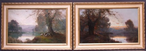 Paintings & Drawings  - Pair of landscapes signed by Alfred Fontville Breanski - Burnham Beeches