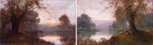 Pair of landscapes signed by Alfred Fontville Breanski - Burnham Beeches -