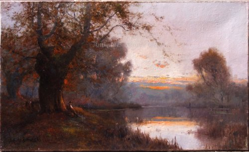- Pair of landscapes signed by Alfred Fontville Breanski - Burnham Beeches