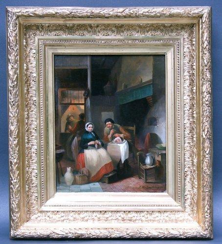 Ferdinand I de Braekeleer - Interior scene - Flemish School